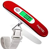 FREETOO Bilancia Digitale pesa Bagagli Valigie con Funzione di Tara Batteria Inclusa per Viaggi All'aperto Casa 110 lb / 50 kg Capacità 1 (Rosso)