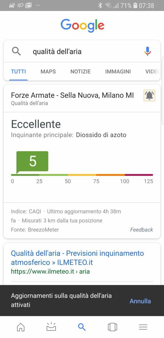 Di quando Google si mette a valutare la qualità dell'aria