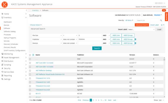 Kace: filtrare facilmente i software con 0 installazioni
