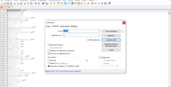 Notepad++: eliminare tutto ciò che c'è prima di un carattere (alternativa)