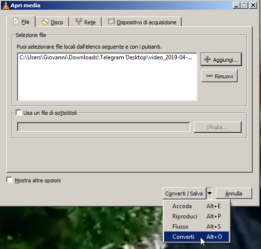 Ruotare un video utilizzando VLC 3