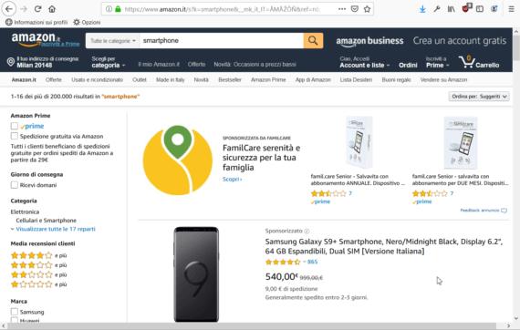 Cerca rapidamente su Amazon con Firefox