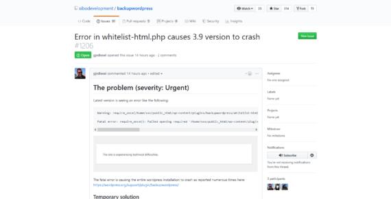 Non aggiornare BackupWordPress alla versione 3.9 (per il momento)