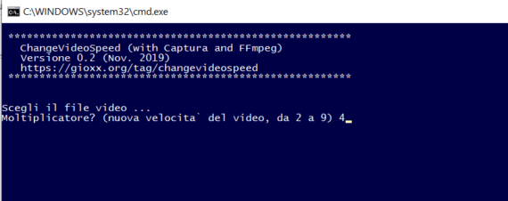 Captura: modifica della velocità video da batch (con FFmpeg) 1