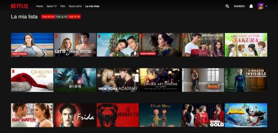 """Netflix: copiare facilmente il contenuto de """"La mia lista"""""""