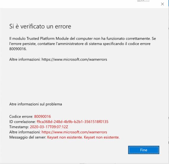 Il modulo Trusted Platform Module del computer non ha funzionato correttamente
