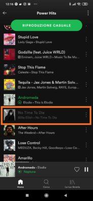Spotify: impedire l'ascolto di un brano in playlist 1