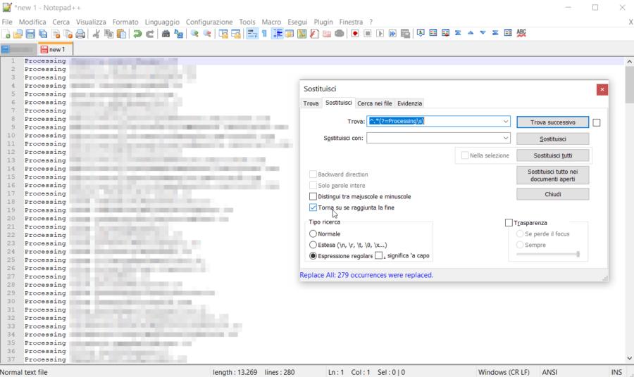 Notepad++: eliminare tutto ciò che c'è prima di una parola 1