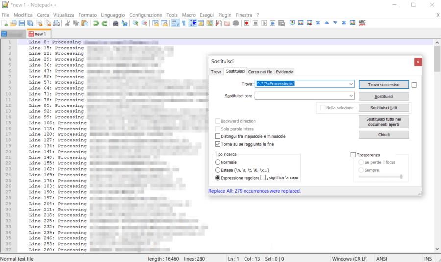 Notepad++: eliminare tutto ciò che c'è prima di una parola