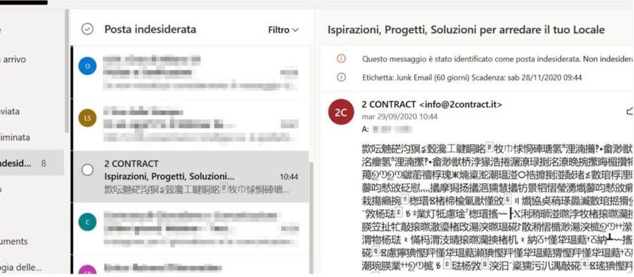 Outlook: come posso bloccare lo spam asiatico sulla casella condivisa? 1