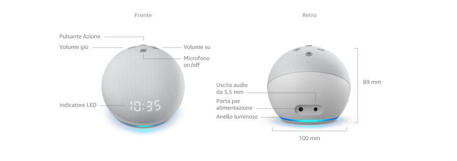 Nuovo Echo Dot 4ª generazione - Altoparlante intelligente con orologio e Alexa
