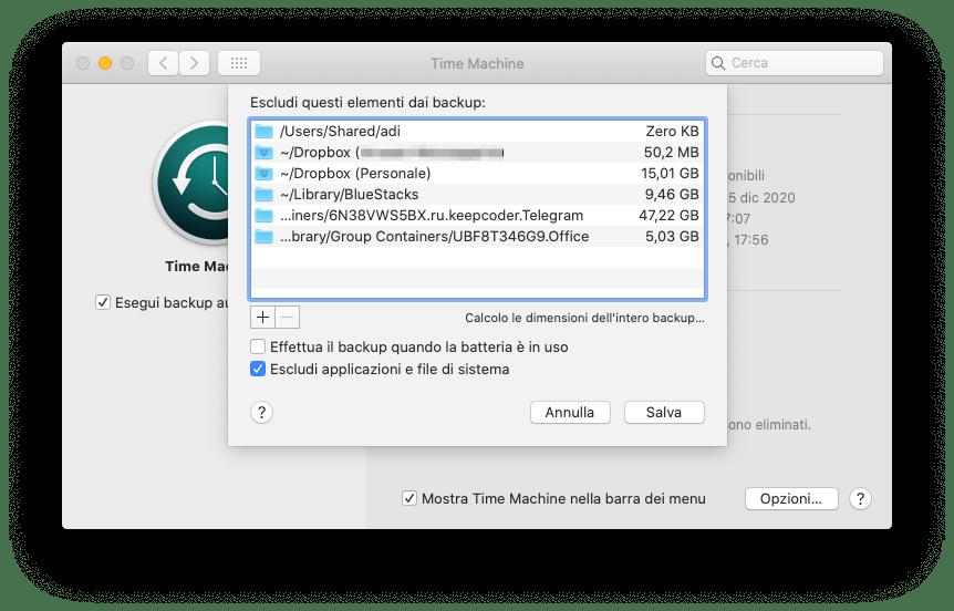 Time Machine: escludi la cartella di Telegram 1