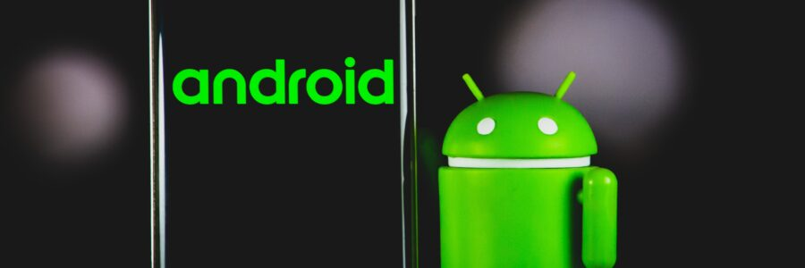 Bugdroid with an Android smartphone
