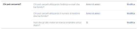 Facebook Cercami tramite contatto