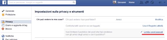 Facebook Limita Post Passati