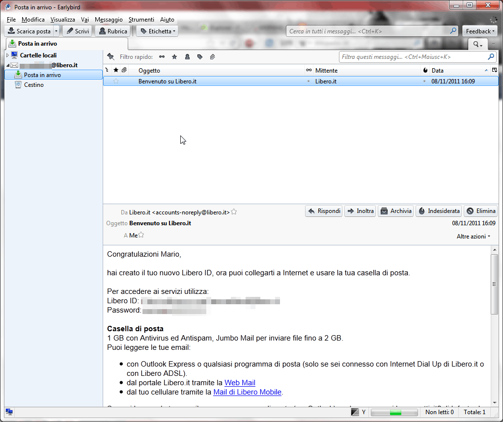 Thunderbird & WebMail: configurare la posta di Libero sul client Mozilla 7
