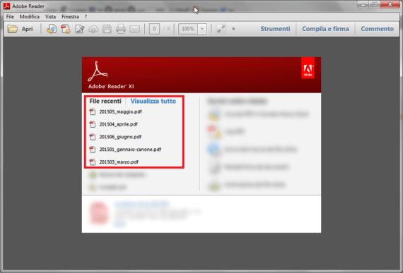 Adobe Reader: non mostrare i file aperti di recente