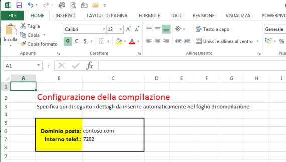 Creare caselle di posta in bulk su Office 365: modello Excel 1
