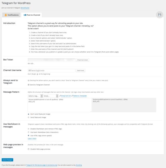 Da WordPress a Telegram: i vostri articoli nel vostro canale 2
