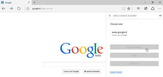 Impostare Google come motore di ricerca predefinito su Edge