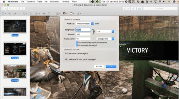 macOS: cambia la dimensione delle immagini