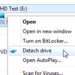 Montare un disco VHD con un clic destro del mouse 1