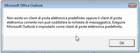 Non esiste un client di posta elettronica predefinito oppure il client di posta elettronica corrente non può soddisfare la richiesta di messaggistica. Eseguire Microsoft Outlook e impostarlo come client di posta elettronica predefinito.