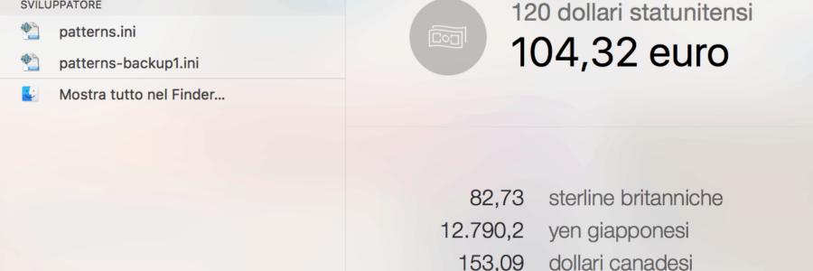 OS X: conversione delle valute da Spotlight