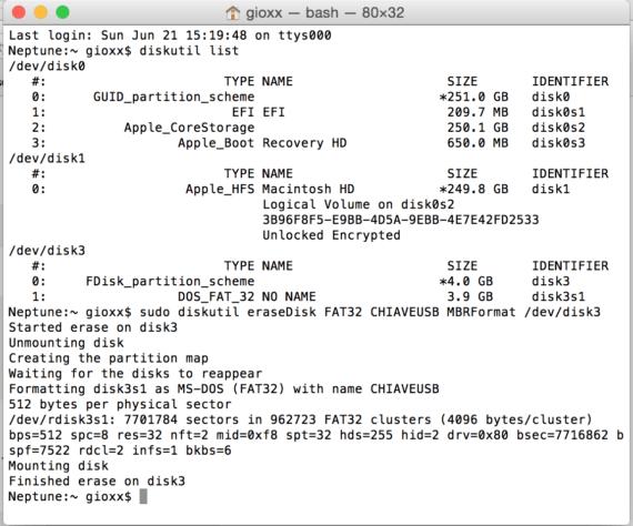 OS X: formattare un disco in FAT32 direttamente da Terminale