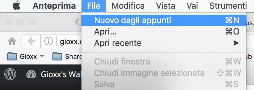 OS X: Salvare un'immagine dagli appunti