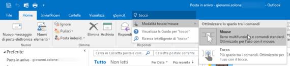 Outlook: comandi contestuali mail fuori posto? (Touch Mode)