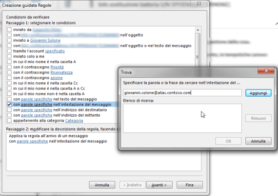 Outlook: intercettare mail inviate a un proprio alias