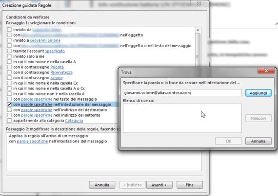 Outlook: intercettare mail inviate a un proprio alias