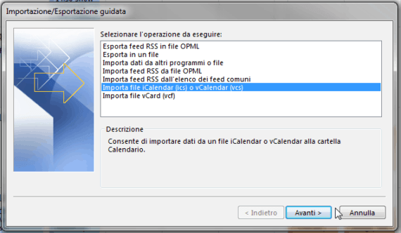 Outlook: merge dei calendari personali (Import) 1