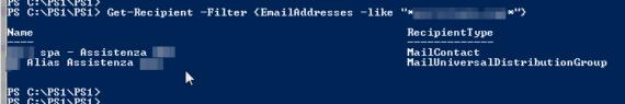 Powershell office 365 cercare un indirizzo di posta