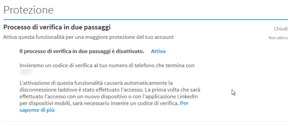 Sicurezza: la 2-step verification di LinkedIn