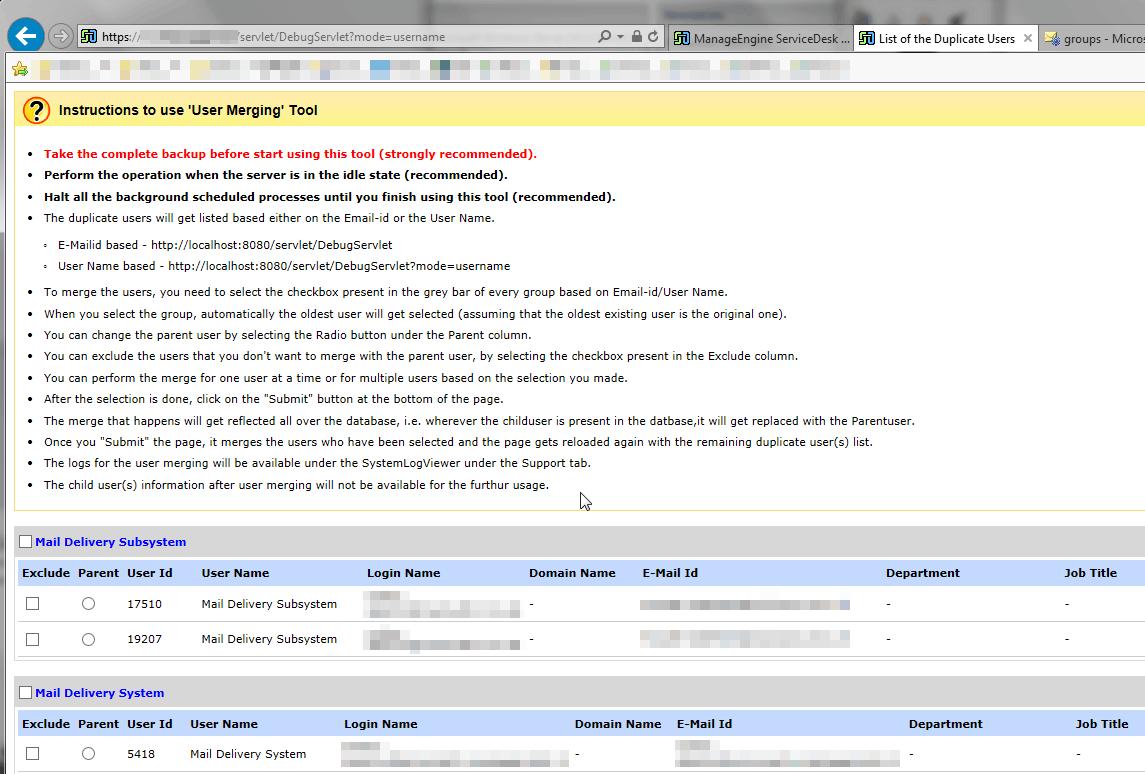 ServiceDesk: merge degli utenti doppi (richiedenti)