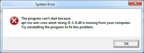 The program can't start because api-ms-ecc