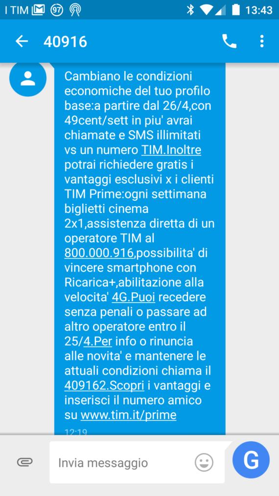 TIM: disattivare l'offerta Prime che arriva via SMS (Promemoria)
