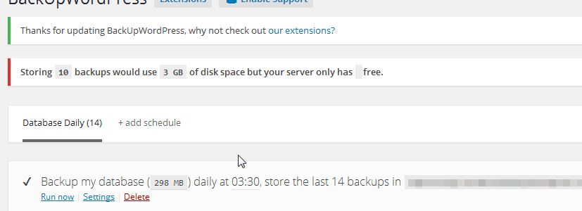 Unable to modify 'Free space' and number of backups to store #1050