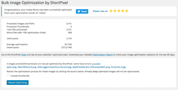 WordPress: ShortPixel Image Optimizer 9