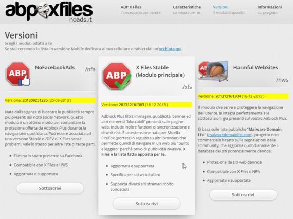 X Files, NFA e HWS: numeri di versione sempre in primo piano